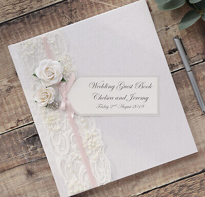 Large Personalised Wedding Guest Book. Luxury Ivory Vintage Rose & Lace Design.