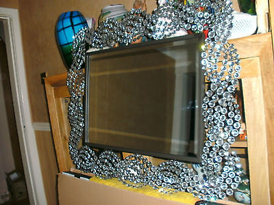 Large Rectangle Black Framed  Wall Mirror/with Wide Diamante Border