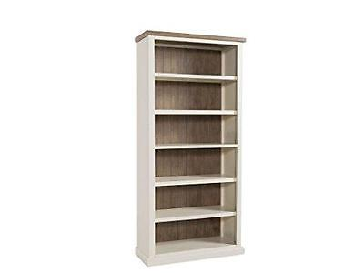 Cycladic Solid Pine Hand Painted Tall Bookcase - Stone Painted Pine Large Bookca