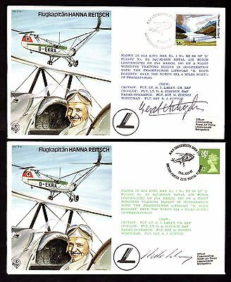 Covers (x2) ~ HANNA REITSCH 1979 LOSSIEMOUTH ~ Different TEXT & SIGNATURES