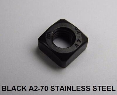 BLACK STAINLESS STEEL SQUARE NUTS A2-70 Stainless Steel M5 M6 M8 M10 M12 DIN 557
