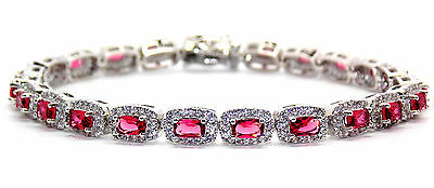 Sterling Silver Ruby And Diamond 14.86ct Tennis Bracelet (925)
