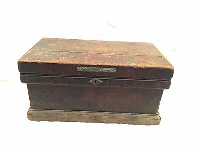 Antique Machinist Carpenters Wood Chest Tool Box With Tray