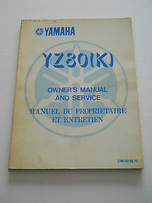 Yamaha Yz80 K 1983  Owners  Manual And Srvice