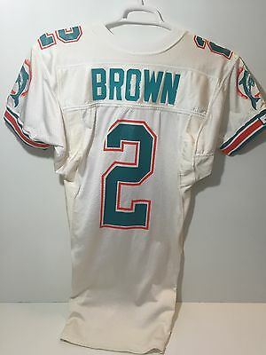 NFL 1990's Miami Dolphins Brown #2 Game Issued Used/Worn Jersey J.R. Patch Sz 38