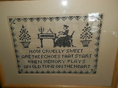 Vintage cross stitch sampler Lady at Piano