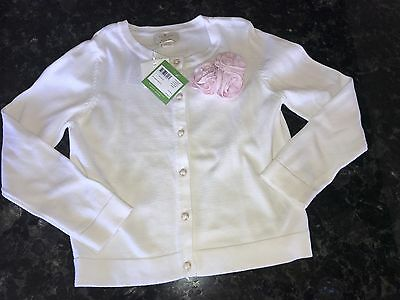 NWT Kate Spade Girl's Size 10 Cardigan Sweater Off White Cream with Pink Flower