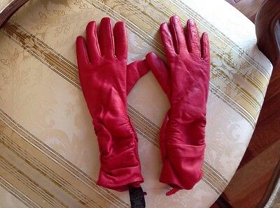 Simons Ladies Leather  Long Red Gloves Sz-7 New
