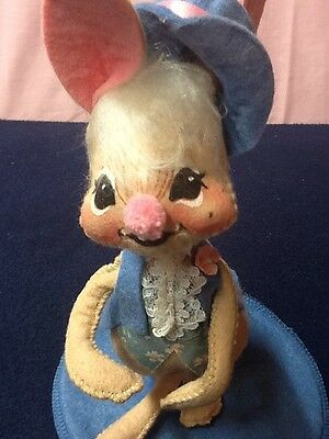 """1988 ANNALEE Doll 9"""" Bunny Rabbit Wearing Blue Outfit/Adorable!!!"""