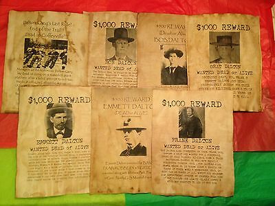 7 Old West Wanted Posters Outlaw Dalton Brothers Bank Robbery Gang