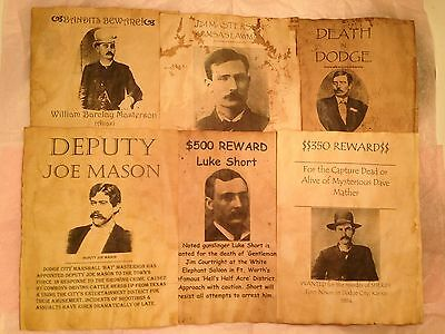 6 Old West Wanted Posters Outlaw Bat Masterson Dodge City Western