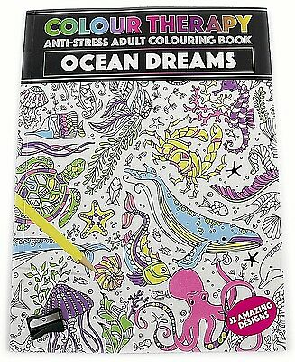 Ocean Dreams Colour Therapy Anti Stress Adult Colouring Book Calming Relax