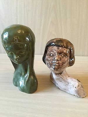 Pair Of Ladies Heads For Rye Pottery By David Sharp