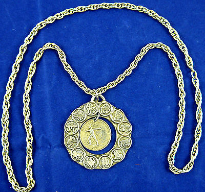 Vintage Brass Tone Sagittarius Zodiac Necklace With Medaillon   (N07)