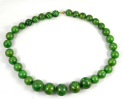 Stunning Vintage Green Beads Plastic Necklace (N013)