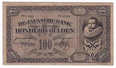 1927 Netherlands Indies 100 Gulden Note***Collectors***FD***