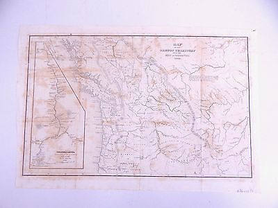 Antique Original 1849 Oregon Territory Map by Wilkes Columbia River 1841 Survey