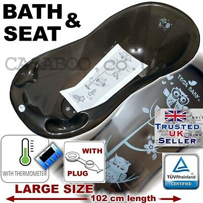 SET LARGE Lux 102cm length Baby Bath Tub with Drain + Support seat+THERMOMETHER