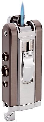 COLIBRI QUANTUM qtr399003 Silver Cigarro jet torch Lighter w/3 punches free gift