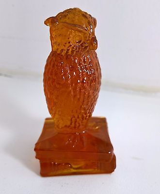 DEGENHART Glass Owl Figurine Paperweight~Amber~Standing On Books~Marked~Vintage