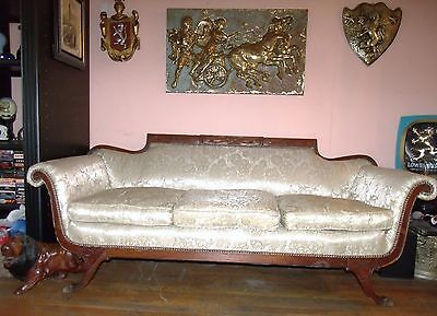 1800-1899 Antique American Empire Solid Carved Mahogany Wood Frame Sofa