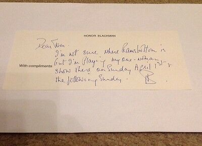 Honor Blackman   - Avengers Signed - Hand Written Note   -  Authentic Uacc