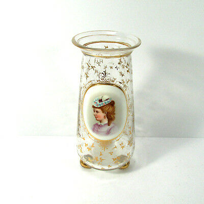 Antique Hand Painted Portrait and Gilt Glass Footed Vase