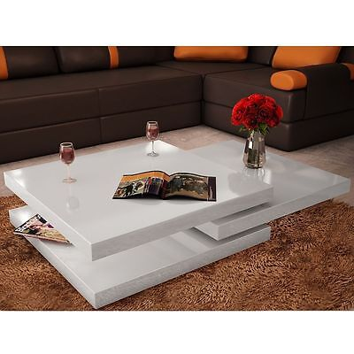 New Coffee Table 3 Layers High Gloss Contemporary Furniture Square White