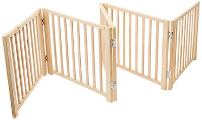 Four Paws 5 Panel Free Standing Walk Over Wooden Dog Gate, 48-Inch-110-Inch Widt