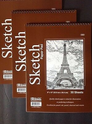 "3 ART SKETCH PAPER PAD 9"" x 12"" Ideal for PENCIL-PASTEL-CHARCOAL 90 Sheets-Bazic"