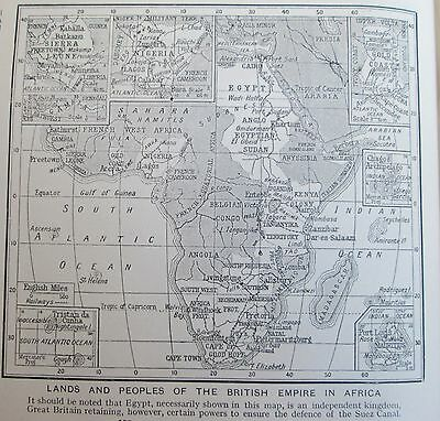 vintage 1934 mini map of British Empire of Africa and indigenous peoples natives