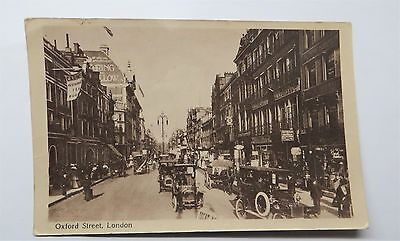 Early Real Photo Postcard Oxford street London street scene