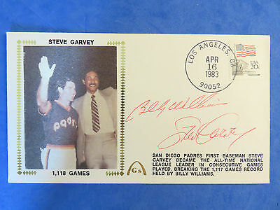 BILLY WILLIAMS & STEVE GARVEY SIGNED First Day Cover FDC / CACHET ~ Apr 1983 ~