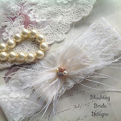 Simply Elegant, Ivory Lace, Feather,  Bridal Garter, Wedding Bride
