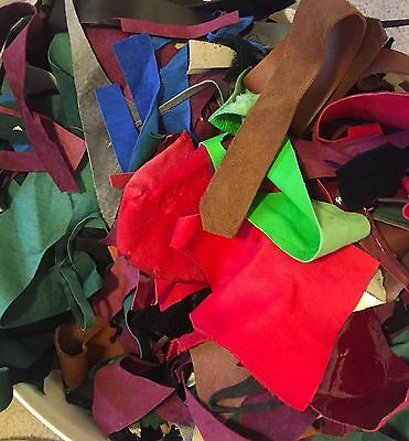 LOT OF Genuine Leather Hide Scraps Mixed Colors - 1 Pound