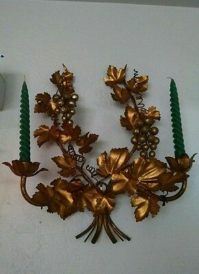 Antique Italian Tole Wall sconce holds 2 candles gold gilt GRAPE VINES Signed.