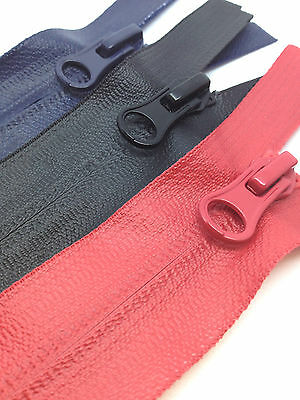 70cms 75cms 80cms Waterproof Zips, open end. Black, Navy, Red and Grey. FREE P&P