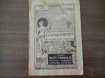 Vintage Antique A Mistake In Identity A Sketch By B L G Griffith Book Amateur