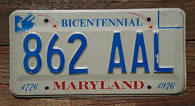 1976 Maryland BICENTENNIAL License Plate # 862 AAL