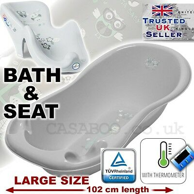 SET LARGE 102cm Baby Bath Tub with thermomether + SUPPORT SEAT chair GREY OWL
