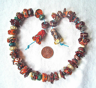 Sra Lampwork Handcrafted Beads - Focal, Pairs & More - 55 Beads - Warm Earth