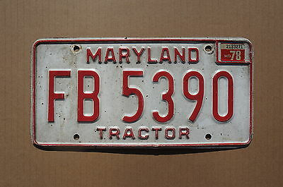 1978 Maryland TRACTOR License Plate