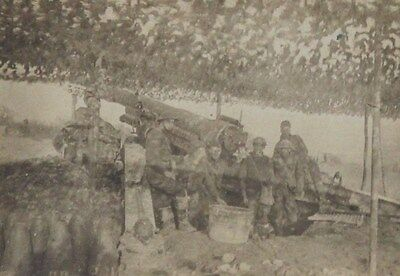 1918 WWI Soldiers AntiAircraft Guns Under Camoflage France Photograph 3.5 x 2.5""