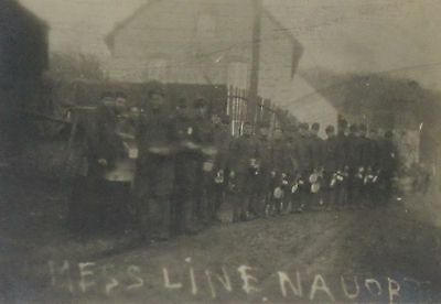 1918 WWI Mess Line Nauort, Germany- Field Ops France - B&W Photograph 3.5 x 2.5""