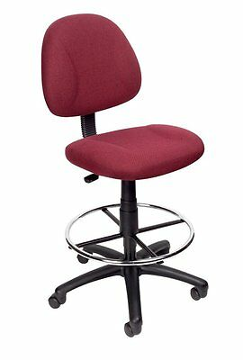 Adjustable Office Chair Ergonomic Works Drafting Chair Chrome Foot Ring Red