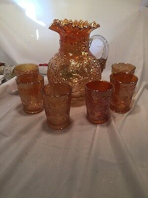 Fenton Floral & Grape Carnival Glass 7pc Water Set Pitcher And Glasses Marigold