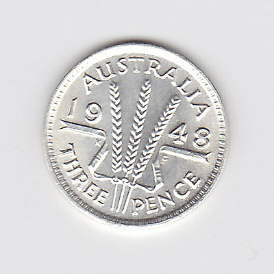 1948 Kgvi Australian Threepence (50% Silver) - Great Coin