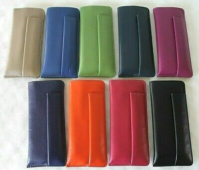 Leather Glasses Case with Pen Holder  *  Various Vibrant Colours by Primehide