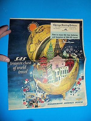 1961 SAS Color Advertising Section Chicago Tribune Scandinavian Airlines System