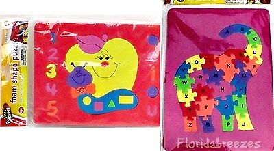 FOAM PUZZLE MATS Set of 2 ABC's and SHAPES Gift Ages 4+ Girl Boy Gift FREE SHIP!